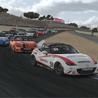 BT MX5 - Round 5 - Pole Winner Matt Cresci 59 leads the pack into turn 1 on lap 1